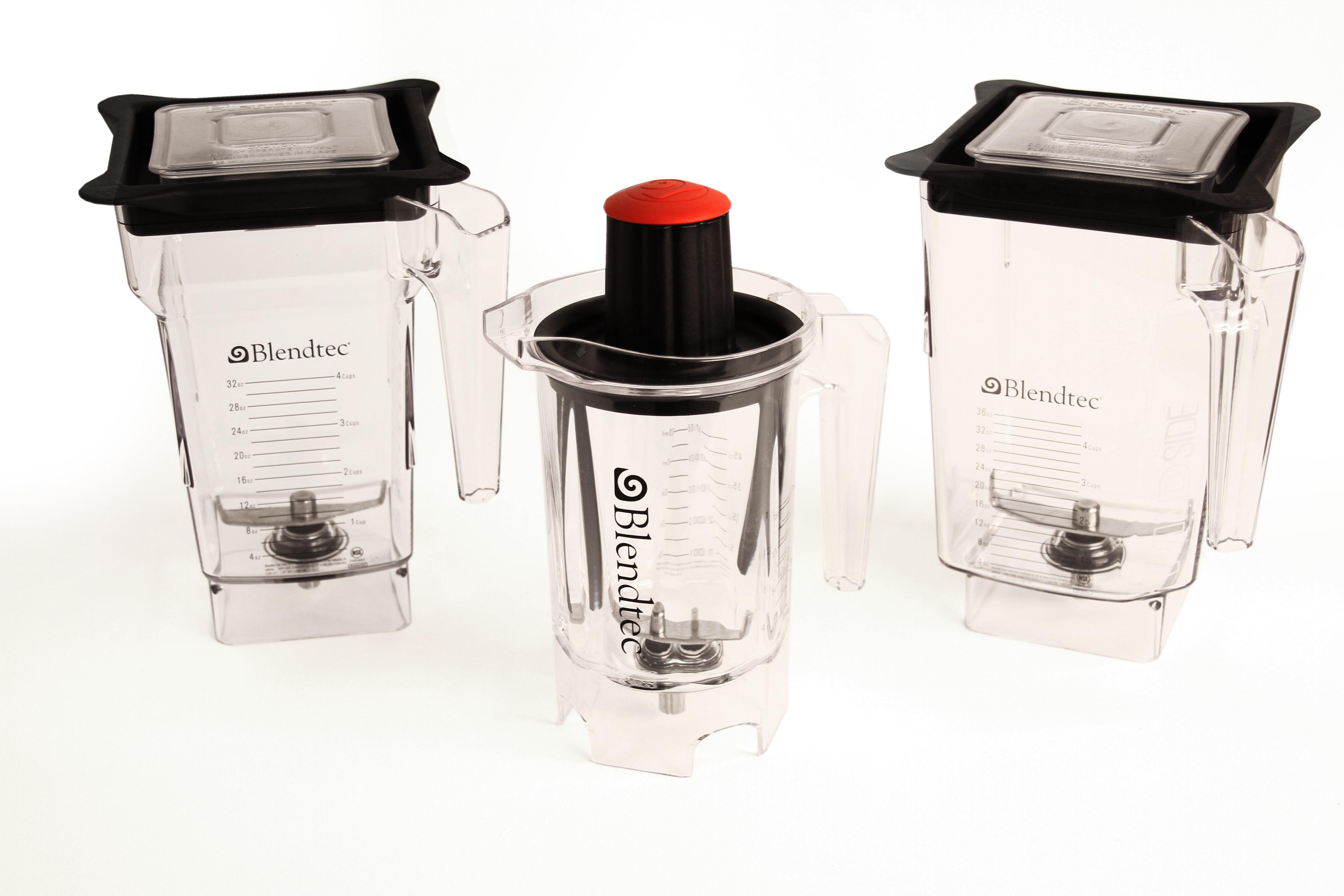 Blendtec's 3 blender jars on white