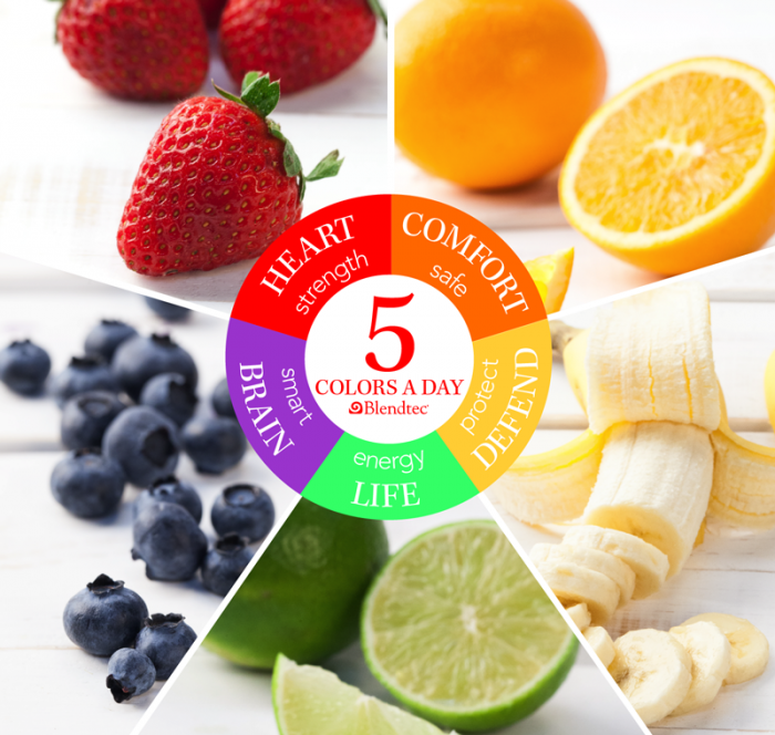 5 colors a day fruit graphic