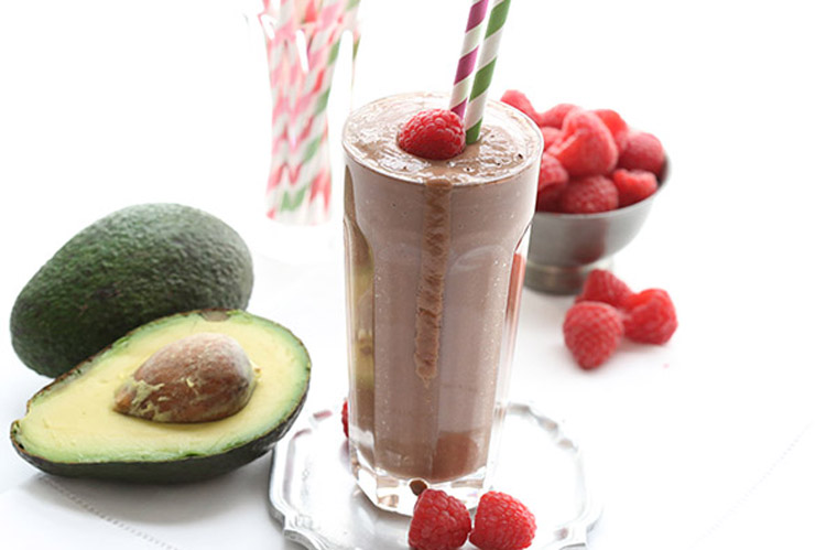 chocolate avocado raspberry smoothie