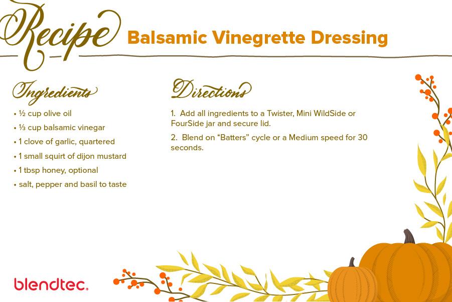 Balsamic Vinaigrette Salad Dressing Recipe Card