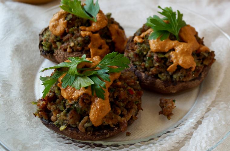 Spicy Sausage Stuffed Portobellos